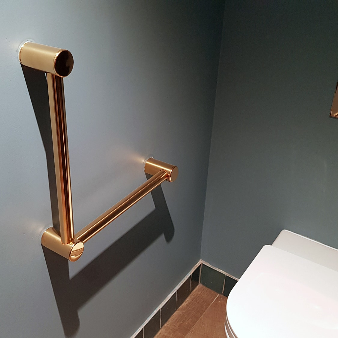 Avail Brushed Gold Angled Toilet Grab Rail