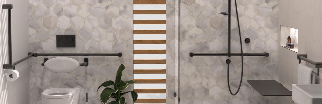DDA Bathroom Matte Black Toilet Grab Rails Shower Grab Rails