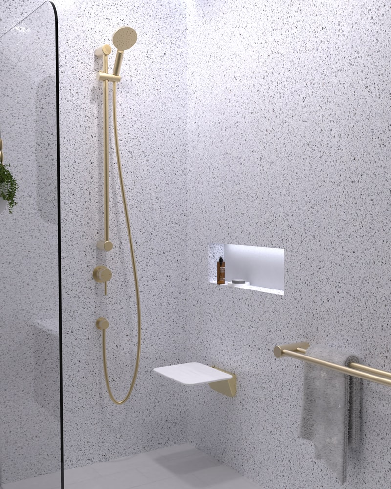 Avail Brushed Brass Grab Rail Shower Seat
