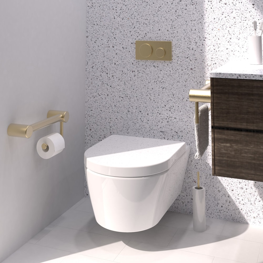 Avail Toilet Grab Rails Brushed Brass