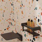 Calibre Ergo Shower Shelf With Seat Matt Black