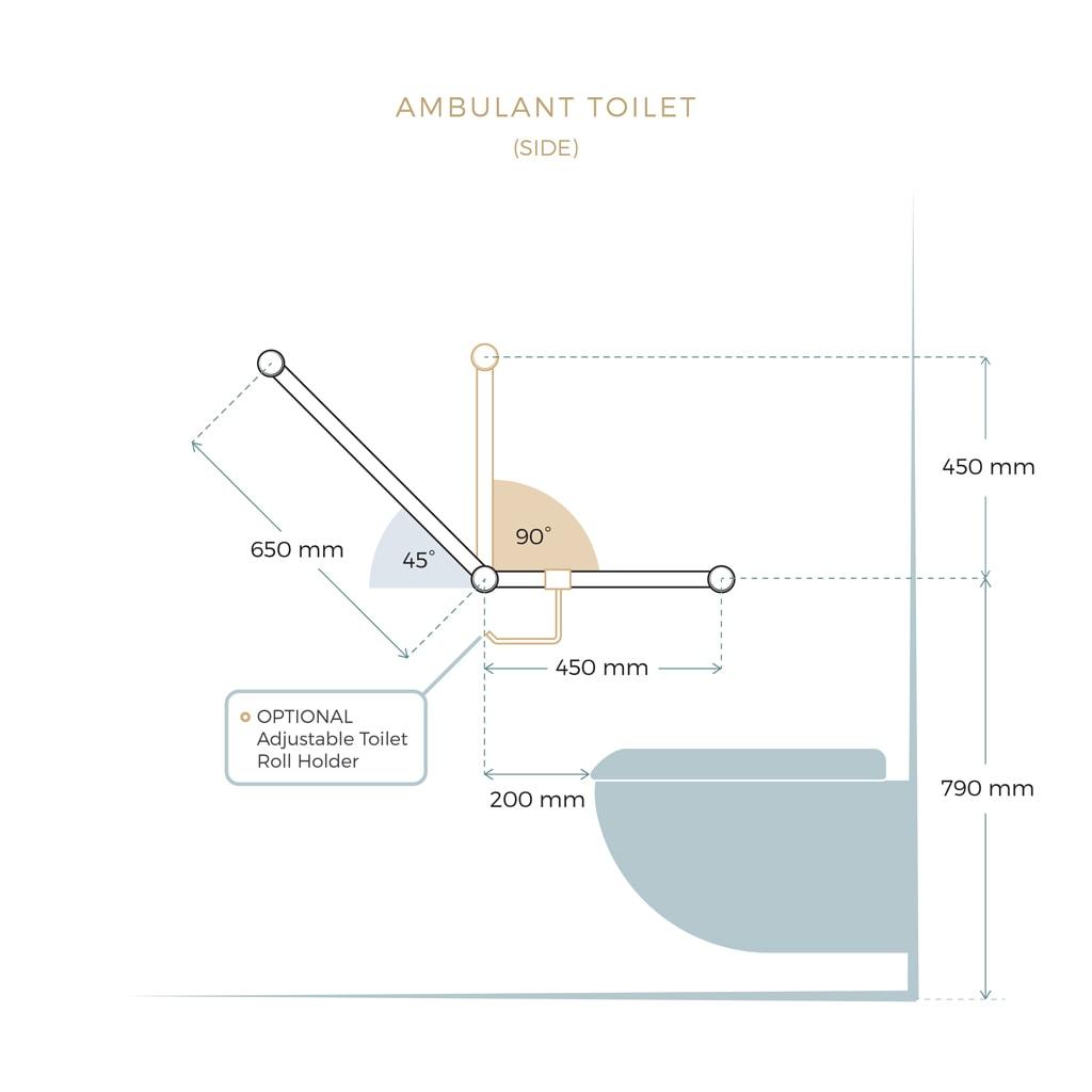 Avail Ambulant Angled 45 90 Toilet Grab Rail