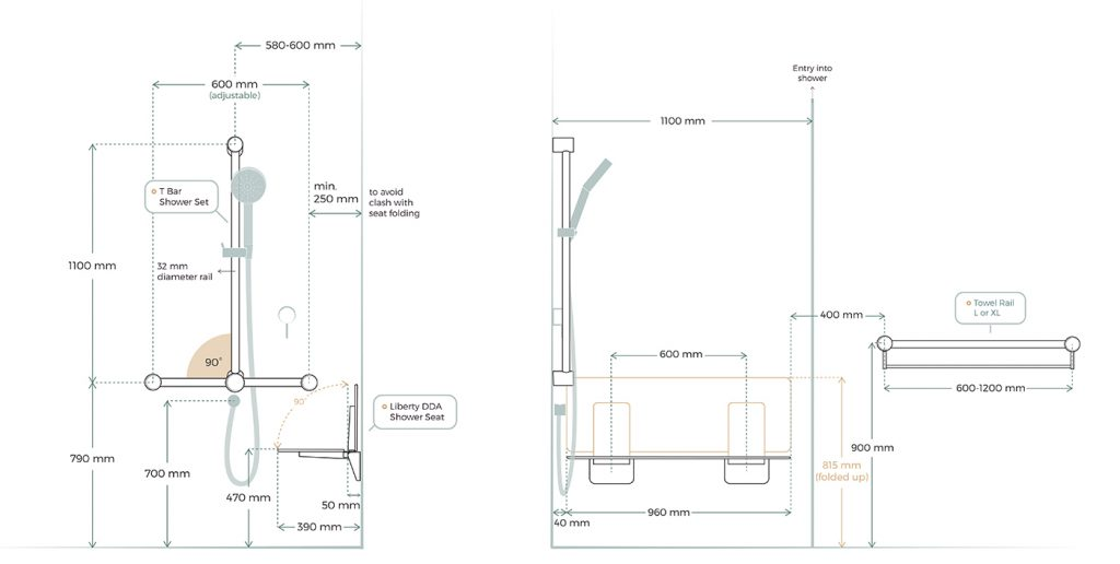 Avail DDA AS1428.1 Shower TBar 960 Seat Dimensions Layout